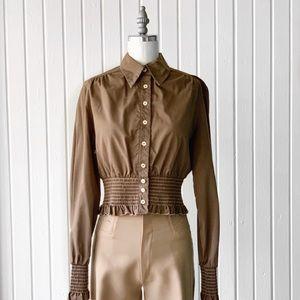 Vintage 70s Brown Smock Western Long Sleeve Top